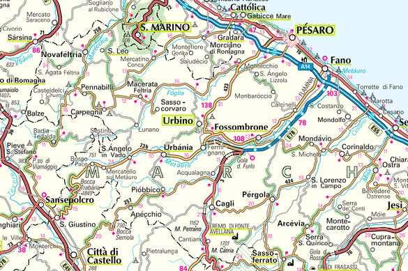 Cartina Geografica Provincia Di Pesaro Urbino.Cartina Di Pesaro
